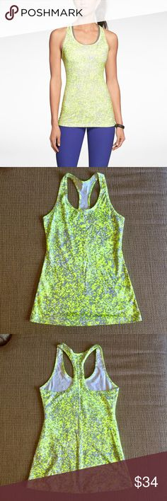 NIKE WOMEN Training Racerback Tank Great quality training tank with super cute print. Volt/gray/white. Nike Tops Tank Tops