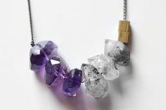 Amethyst + Herkimer Diamond Necklace