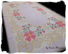 Resultado de imagen para toalha de mesa bordada em tecido xadrez