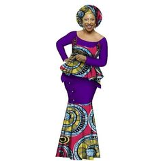 African Style Top and Long Skirt Women Cotton Print Kitenge Ankara O-Neck at Diyanu African Fashion Dresses, African Attire, African Wear, African Dress, African Style, African Blouses, African Dashiki, Ankara Mode, African Inspired Clothing