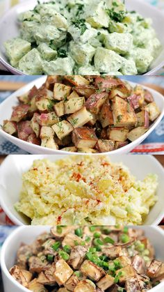 Recipe with video instructions: Make plain old potato salad a thing of the past with these 4 uniquely flavored offerings. Ingredients: 2 lbs Yukon potatoes, peeled and cubed, 1 ½ cup Greek yogurt, 2 Tbsp vinegar, 2 Tbsp sugar, 3 Tbsp curry powder, Salt and pepper, 2 Tbsp cilantro, ½ cup onion, 1 cup peas, ¼ cup golden raisins, 3 hard-boiled eggs, 1 tsp paprika
