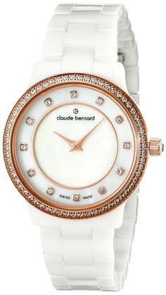 Claude Bernard 20203 BR B Women's Watch Swarovski Crystals with White Ceramic Band