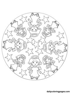 coloring page Mandala Christmas on Kids-n-Fun. Coloring pages of Mandala Christmas on Kids-n-Fun. More than coloring pages. At Kids-n-Fun you will always find the nicest coloring pages first! Angel Coloring Pages, Cool Coloring Pages, Mandala Coloring Pages, Free Printable Coloring Pages, Coloring Pages For Kids, Coloring Sheets, Adult Coloring, Coloring Books, Food Coloring