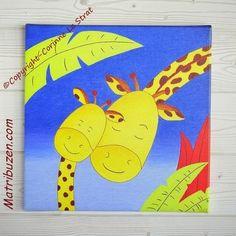 """Son girafon adoré"" Tableau girafe 30x30 chambre enfant garçon, fille"