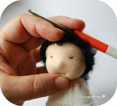 Immertreu: Gratis Anleitung - einer Stoffpuppe Haare machen Doll hair tutorials