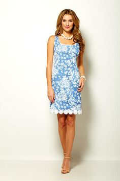 Sara Campbell blue printed chemise with daisy trim Boston Shopping, Summer 2015, Daisy, Summer Dresses, Printed, Blue, Collection, Design, Women