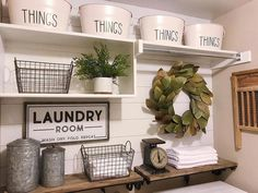 Love this inspired laundry room because, well, we all have laundry to do, right? So why not style it to please our decor senses! Thx for including our Canisters in your Farmhouse laundry room decor inspiration Small Laundry Rooms, Laundry Room Storage, Laundry Room Design, Laundry Cart, Laundry Decor, Laundry Drying, Laundry Detergent, Laundry Room Decorations, Small Bathroom