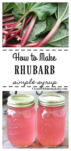 Rhubarb Simple Syrup Recipe for homemade rhubarb simple syrup to freeze or can. Use this syrup to flavor cocktails, lemonade, iced tea, or enjoy on your favorite ice cream. Canning Soup Recipes, Pressure Canning Recipes, Jam Recipes, Water Recipes, Seafood Recipes, Cocktails, Cocktail Recipes, Drinks, Beverages