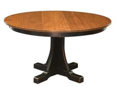 Amish Cumberland Mission Single Pedestal Table The Cumberland is customizable. Choose wood and stain for this single pedestal beauty that your family can enjoy for decades to come. Amish made with solid wood. #pedestaltables #diningtable