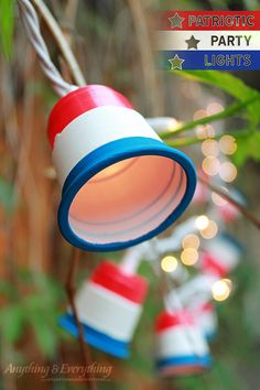 These patriotic party lights are the perfect added decor to any party! Make these patriotic party lights using mini red cups, paint, and some string lights! Patriotic Crafts, Patriotic Party, July Crafts, Holiday Crafts, Americana Crafts, Holiday Ideas, Christmas Projects, Christmas Trees, Holiday Fun
