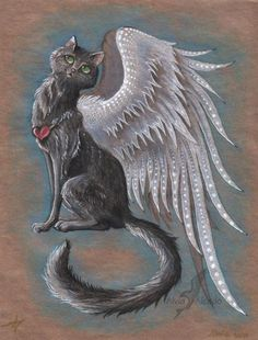 Gift-art for *ART-fromthe-HEART I sent original work to USA to Cara Bevan, because that cat paintings, that she sent to me, were so beautiful, that I fe. A black cat Gato Angel, Frida Art, Black Cat Art, Mythological Creatures, Rainbow Bridge, Cat Tattoo, Halloween Cat, Magical Creatures, Beautiful Cats