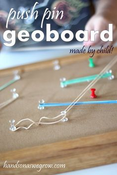 Fine motor activities: Thumbnail image for Push Pin Geoboard: Made by Child! Fine Motor Activities For Kids, Quiet Time Activities, Sensory Activities, Educational Activities, Toddler Activities, Learning Activities, Kids Learning, Sensory Bins, Teaching Resources