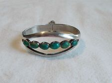 Vintage Sterling & Turquoise Taxco Mexico Split Shank Hinged Cuff Bracelet