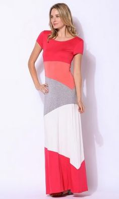 Colorblock Maxi Dress Dreaming in PINK