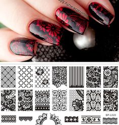 Born Pretty Nail Art Stamp Plate Lace Flower Pattern Image Template for sale online Nail Art Diy, Easy Nail Art, Diy Nails, Born Pretty, Lace Nails, Pretty Nail Art, Nail Decorations, Cute Nail Designs, Nail Stamping