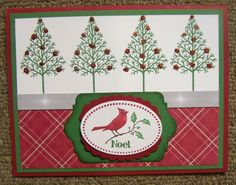 handmade Christmas card: Warmth & Wonder SU! stamp set ... row of little trees ... plaid paper ... labels focal point with cardinal ... Stampin' Up!