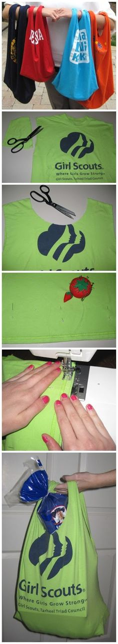 FASTEST RECYCLED T-SHIRT TOTE BAG -- good use for thrift finds or old t-shirts that are not wearable anymore.