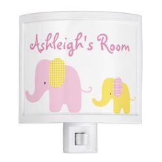 Pink and Yellow Baby Elephant Nursery Room Night Light