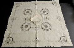 Vintage Madeira Style Taupe Embroidery Reticella Linen Tea Tablecloth 6 Napkins