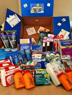 Perfect first carepackage for overseas. Toiletry care package: mach 3 disposable razors, baby wipes, shave cream, toothpastes, toothbrushes, body wash, baby powder, chapsticks, deodorants, combs, kleenex, hair gel, lotions, antibacterial wipes, hand sanitizers, manicure set, travel first aid kits.