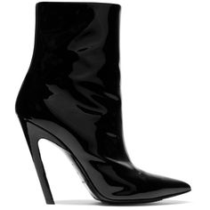 Balenciaga Balenciaga - Patent-leather Ankle Boots - Black (€590) ❤ liked on Polyvore featuring shoes, boots, ankle booties, pointed toe ankle boots, short boots, pointy-toe ankle boots, black patent leather booties and black bootie