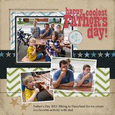 Father's Day Digital Scrapbook Page. Made with My Digital Studio. www.mystamplady.com