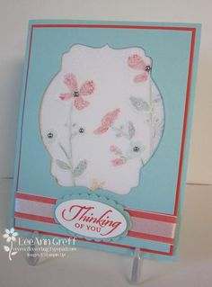Wildflower meadow embossed on vellum cardstock and shown inside window