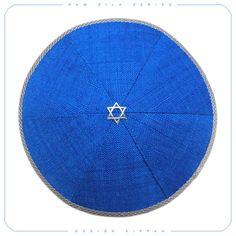 WATER (series Elements) by Design Kippah. Type: six-wedged classic handmade kippah. Size: 15cm - 5.9inch in diameter. Fabric: high quality raw silk