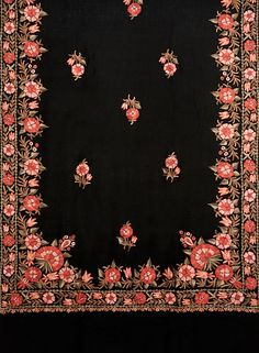 Kashmiri embroidery -- heavy order w widely spaced butis interspersed in center. Border Embroidery Designs, Kurti Embroidery Design, Embroidery Motifs, Types Of Embroidery, Indian Embroidery, Embroidery Dress, Embroidery Thread, Machine Embroidery, Kashida Embroidery