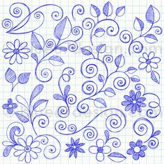 Hand-Drawn Sketchy Notebook Doodle Leaves and Flowers Vector Illustration by - zentangle - Doodle Designs, Doodle Patterns, Zentangle Patterns, Embroidery Patterns, Hand Embroidery, Doodle Art, Doodle Drawings, Doodle Fonts, Notebook Doodles