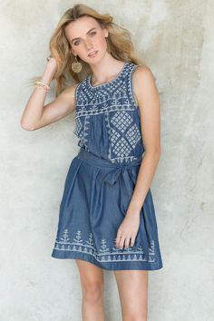 377cf763bf0 Biloxi Embroidered Chambray Dress francesca s