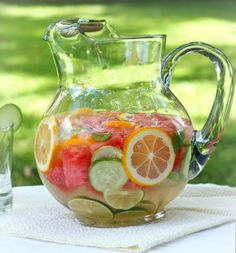 Delicious, nourishing, healthy homemade vitamin water is a refreshing summer beverage with no added sugar or preservatives! Recipe at SoupAddict.com | detox water | fruit infused water