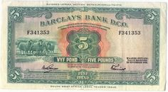 South West Africa Barclays Bank 5 pounds banknote - 29 November 1958  - gum residue on reverse