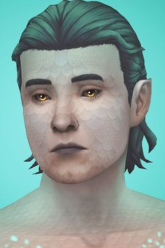 """INTERSTELLAR - ALIEN OVERLAYS BY PYXIS """"A collection of colourful alien face/body blushes, three sets of spots, and two kinds of scaly reptilian overlays. Also includes a cute little pair of star. Siren Anime, Anime Merman, Dragon Face, Dragon Skin, Mermaid Skin, The Sims 4 Skin, Sims 4 Collections, Sims 4 Mm, Sims 4 Build"""