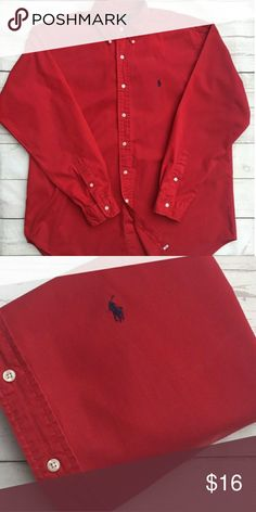 Ralph Lauren | Button Down Shirt | Boys Size 4 Ralph Lauren Button Down Shirt Red in Color with Navy Blue Logo  Boys Size 4 Excellent Condition Ralph Lauren Shirts & Tops Button Down Shirts