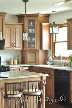 This color is Benjamin Moore HC-170 Stonington Gray cut to 25%  My Mom's new kitchen...! - Jennifer Rizzo