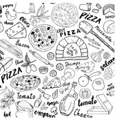 Pizza seamless pattern different pizza background Vector Image Pizza Logo, Pizza Menu, Joey's Pizza, Pizza Restaurant, Pizza Blanca, Pizza Background, Dog Treat Packaging, Pizza Vector, Free Hand Rangoli Design