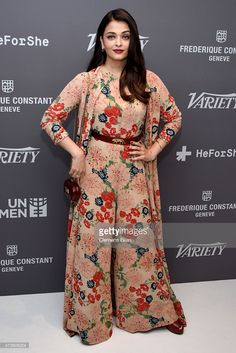 Aishwarya Rai Jumpsuit – Aishwarya Rai was all abloom in a wide-leg floral jumpsuit and a matching robe at the Variety celebration of UN Women. – Hot and Sexy Actress Pictures Pakistani Dresses, Indian Dresses, Indian Outfits, Stylish Dresses, Women's Fashion Dresses, Casual Dresses, Kurta Designs, Designer Jumpsuits, Designer Dresses
