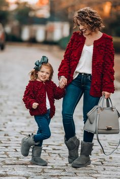 Mommy & Me Burgundy Pom Pom Heart Cardigans for Valentine's Day Mommy And Me Dresses, Mommy And Me Outfits, Cute Outfits For Kids, Mother Daughter Matching Outfits, Mother Daughter Fashion, Family Christmas Outfits, Holiday Outfits, Toddler Girl Christmas Outfits, Summer Outfits