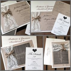 Vintage Wedding Invitations  Jordan Lace Collection by kandvcrafts