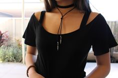 Bolo Wrap Necklace and Velvet Choker by WeWhoSeek on Etsy https://www.etsy.com/listing/242831623/bolo-wrap-necklace-and-velvet-choker