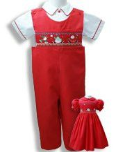6e6ebe99c Boys Red Santa Christmas Smocked Overalls Longalls 9 months - Carousel Wear
