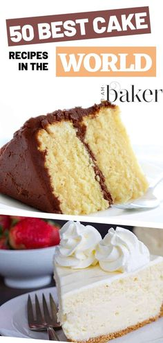 Perfectly baked moist cakes are simply the best! Here are The 50 Best Cake recipes in the world as rated by you! I'm sure you will have something to find from homemade fruit boxed mixes chocolate layered and everything you can think of! Homemade Cake Recipes, Delicious Cake Recipes, Best Cake Recipes, Cupcake Recipes, Yummy Cakes, Dessert Recipes, Grandma's Recipes, Layer Cake Recipes, Recipies