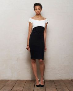 Off Shoulder Bodycon Bardot Dress with Cut Out in Monochrome