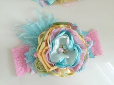 Baby Girl Headband-Matilda Jane by AvryCoutureCreations on Etsy Headband Tutorial, Baby Couture, Vintage Couture, Baby Girl Headbands, Cute Crafts, Photography Props, Fabric Flowers, Hair Bows, Elsa