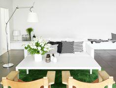 white + green interior