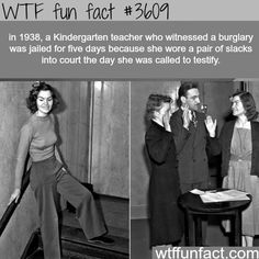 """latimespast: """" """"I like slacks. They're comfortable."""" In Helen Hulick defied a judge's order and wore slacks in court, earning her a five-day jail sentence. She later returned in a jail-issued. Wtf Fun Facts, True Facts, Funny Facts, Random Facts, Crazy Facts, Weird But True, Interesting History, Interesting Facts, The More You Know"""