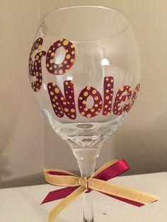 FSU gifts Florida State Seminoles  FSU wine glass by DebDebsCrafts