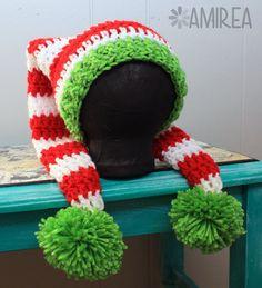 Beanie Crochet Christmas Stocking Holiday Beanie All Sizes Adult to Newborn, Crochet Hat Crochet Santa Hat, Crochet Christmas Hats, Crochet Kids Hats, Christmas Beanie, Christmas Crochet Patterns, Crochet Cap, Crochet Beanie, Crochet Gifts, Knitted Hats