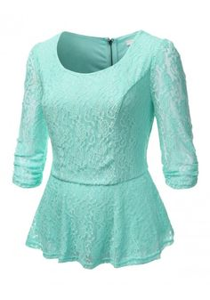 Ruched 3/4 Sleeve Lace Peplum Top - New Arrival